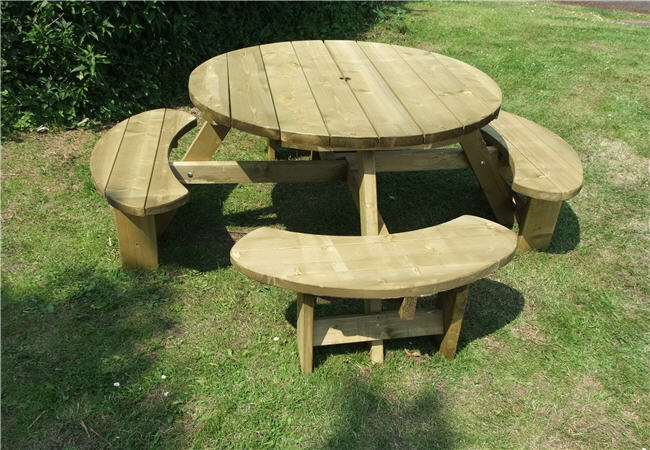 Winchester Treated 8 Seater Round Picnic Table Bench