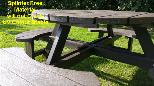recycled plastic composite excalibur round 8 seat picnic table bench