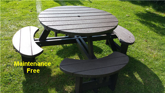 Recycled Plastic Composite Picnic Table Bench Excalibur Round Seat - Recycled plastic round picnic table